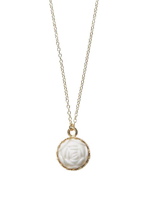 Mini Porcelain Rose Charm Gold-Filled Necklace