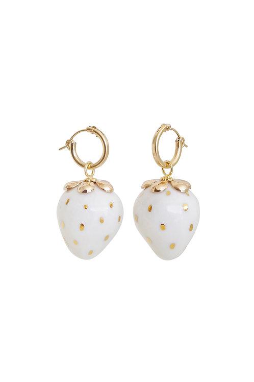 Golden White Porcelain Strawberry Earrings