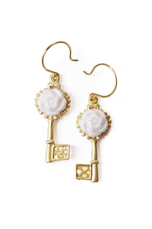 Porcelain Camellia Golden Key Earrings