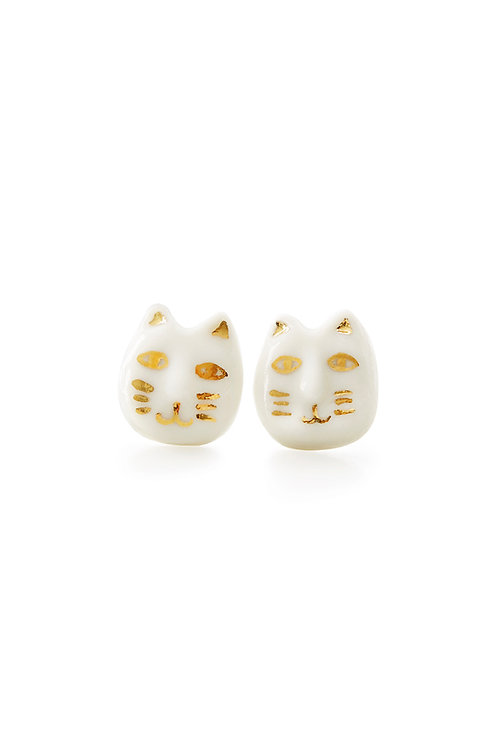 Lucky Cat Stud Earrings