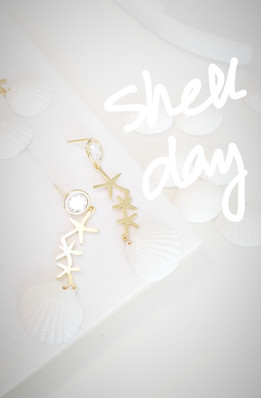 Shell day - working on our star seashell earrings