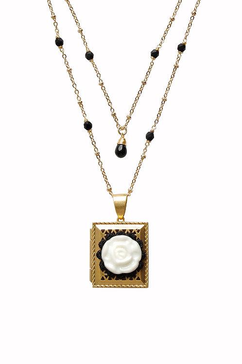 Vintage Style Porcelain Moonlight Rose Locket Necklace