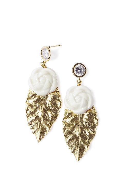 Porcelain Camellias And Golden Leaves Earrings