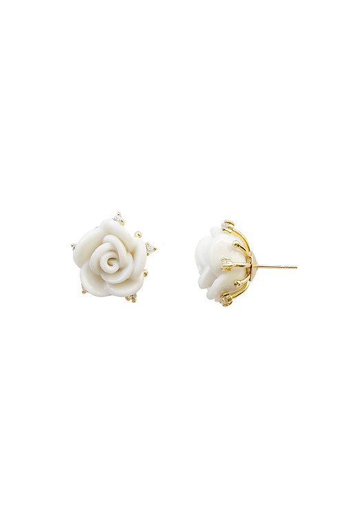 White Cloud Porcelain Rose Stud Earrings