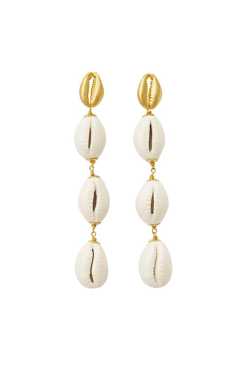 Porcelain Cowrie Shell Linear Earrings