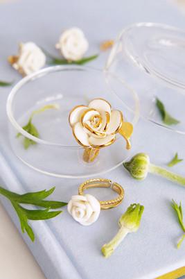Golden White Cloud Rose Ring