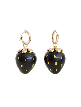 Golden Black Porcelain Strawberry Earrings