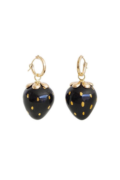 Golden Black Porcelain Strawberry Earrings