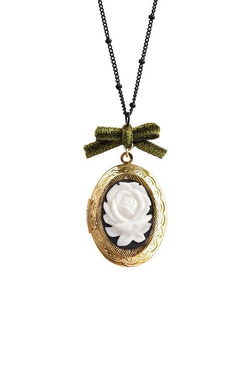 Dark Romance Rose Oval Porcelain Cameo Locket Necklace