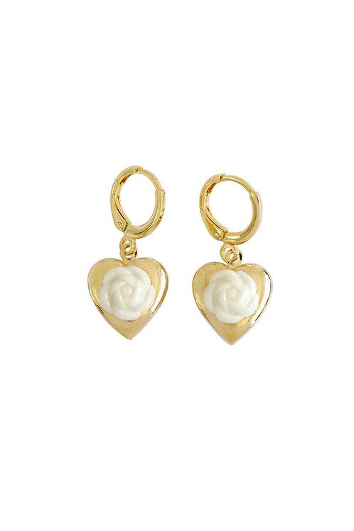 Mini Camellia Heart Locket Earrings