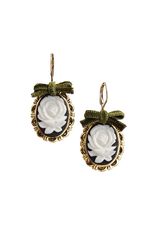 Dark Romance Rose Oval Porcelain Cameo Earrings