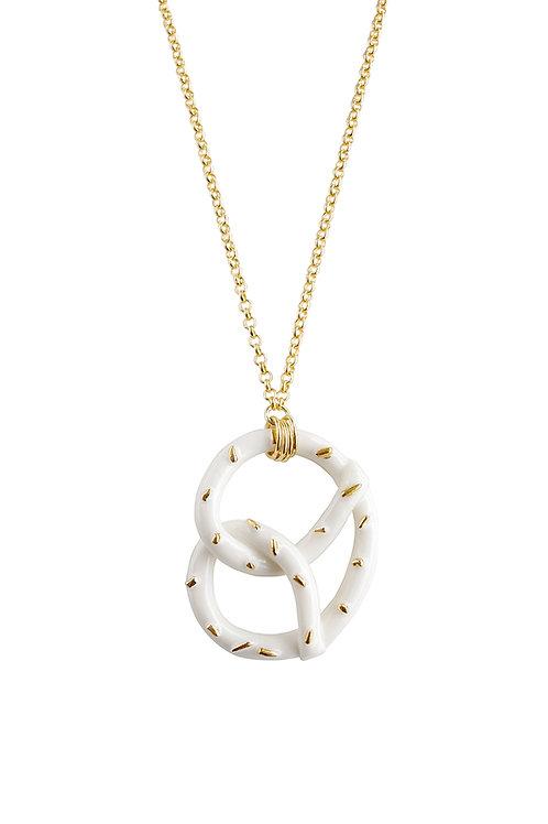 Golden Salted Porcelain Pretzel Pendant Necklace