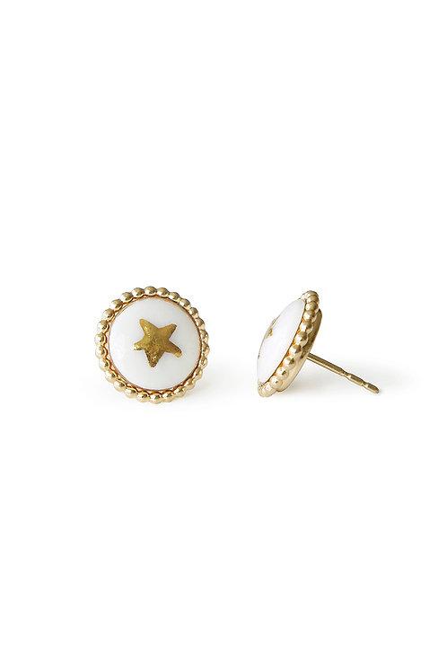 Gold Lustre Star Stud Earrings