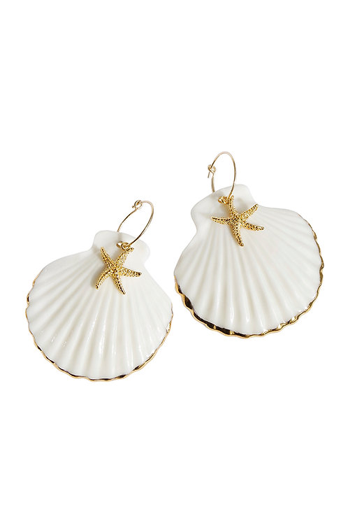 Golden Edge Clam Shell With Starfish Hoop Earrings