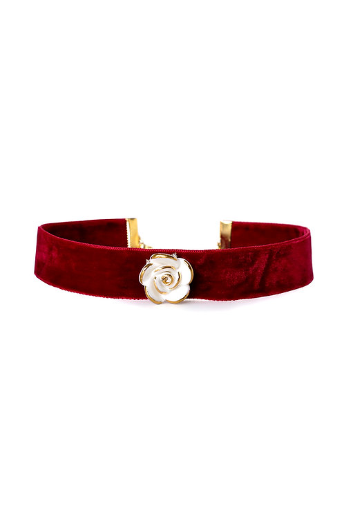 Golden White Cloud Rose Red Velvet Choker