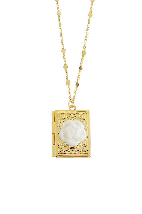 Porcelain Camellia Book Locket Necklace