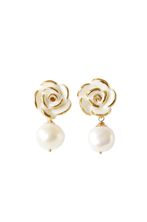 Golden White Cloud Rose Pearl Drop Earrings