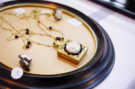 Vintage Style Moonlight Rose Locket Necklace; Black & Gold collection
