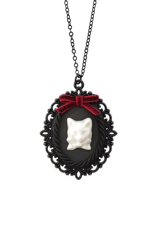 Dark Romance Porcelain Cat Cameo Necklace