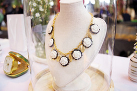 Camellias And Golden Leaves Necklace