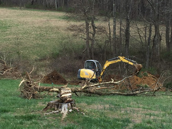 Then things got serious...  Finally time to start digging for our pond. Great summer ahead!!