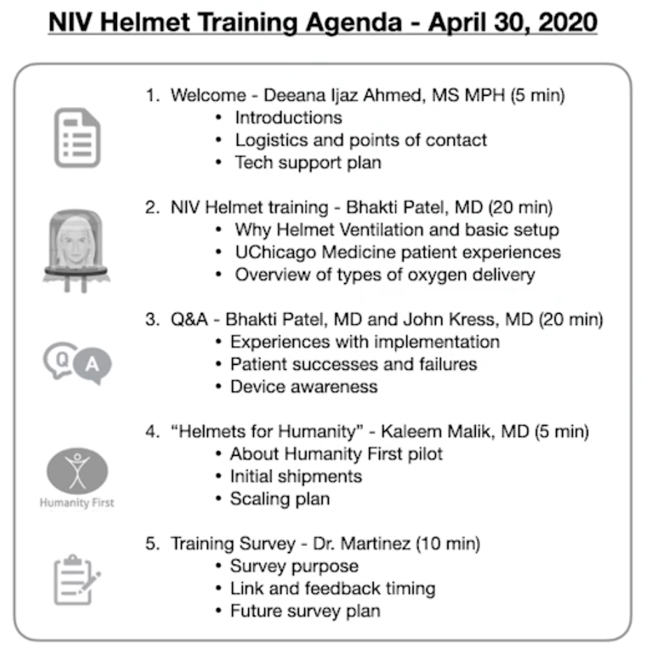 NIV Helmet Training Agenda - April 30,2020