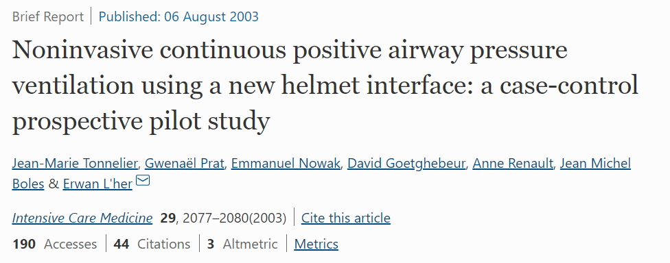 Noninvasive Continuous Positive Airway Pressure Ventilation Using a New Helmet Interface: A Case-Control Prospective Pilot Study