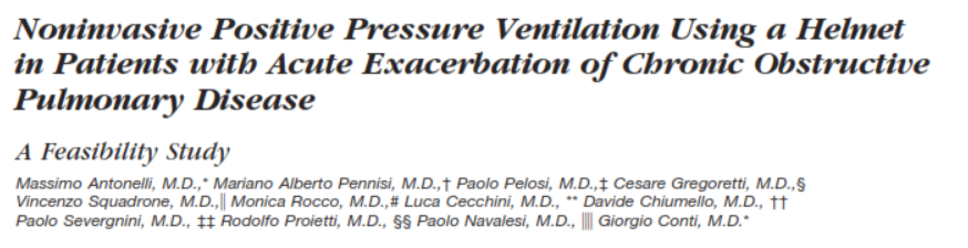 Nonivasive Positive Pressure Ventilation Using a Helmet in Patients With Acute Exacerbation of Chronic Obstructive Pulmonary Disease