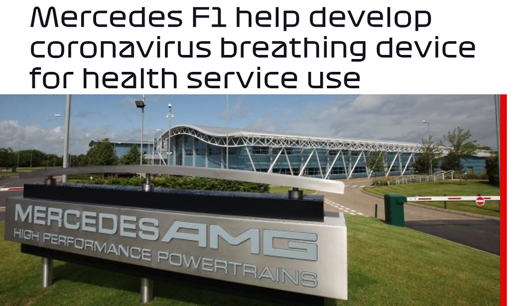 Mercedes F1 Help Develop Coronavirus Breathing Device For Health Service Use