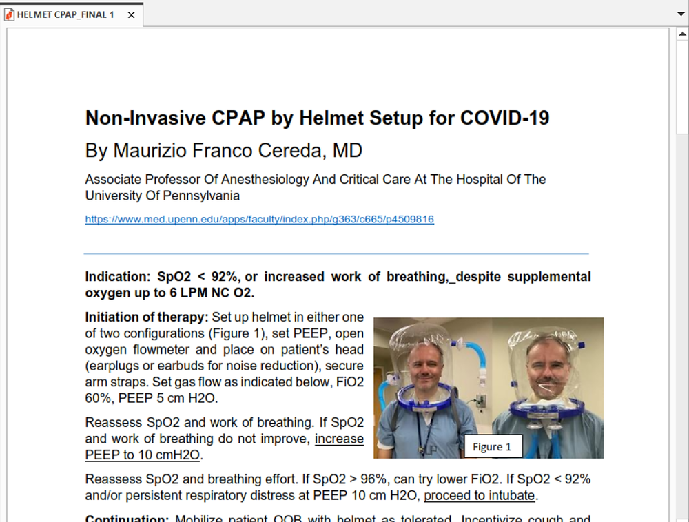 PDF Guide: Non Invasive CPAP by Helmet Setup for COVID-19
