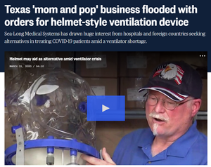 NBC News - Texas Business Flooded Orders for Helmet Style Ventilation Device