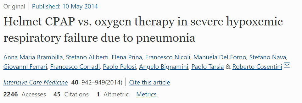 Helmet CPAP vs. Oxygen Therapy in Severe Hypoxemic Respiratory Failure Due to Pneumonia