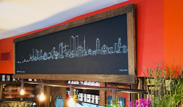 12 Charis Cafe Tel Aviv Skyline Custom hand drawn Tel aviv Tel Aviv skyline by Mekomi located at North Miznon manhattan, new york