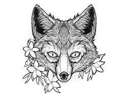 Fox and Jasmine Tattoo design