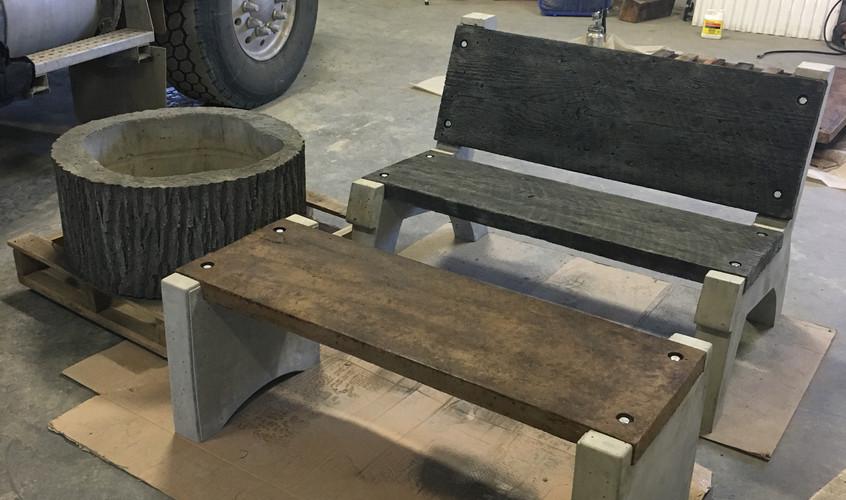 Concrete Benches & Fire Pit