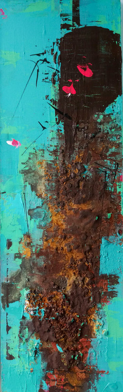 연상록003, 적벽강, 22cm x 70cm, 아크릴및 유화 ,혼합재료, 2017,
