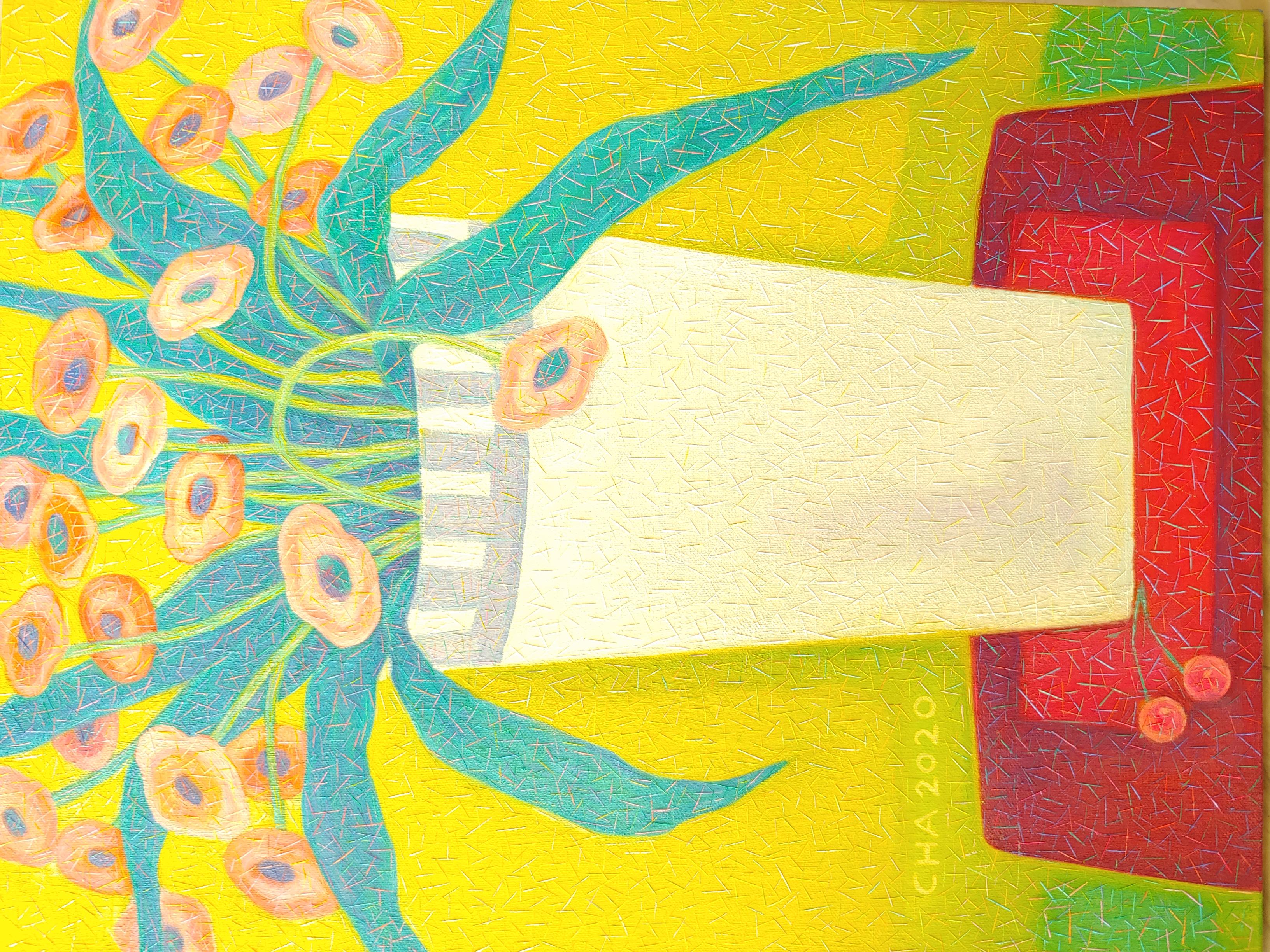 차명주1, 하얀 화병의 꽃, 40.9 x 53