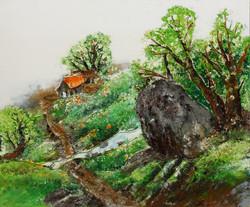 13. 큰바위, , 72x61cm, 캔버스에 흙, 실, 청바지, 2014