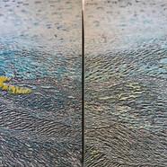 012, 김재신, 바다, 116.5 x 73 cm (20호 2set), 나무판 위에 색 조각, 2019, 1600만원