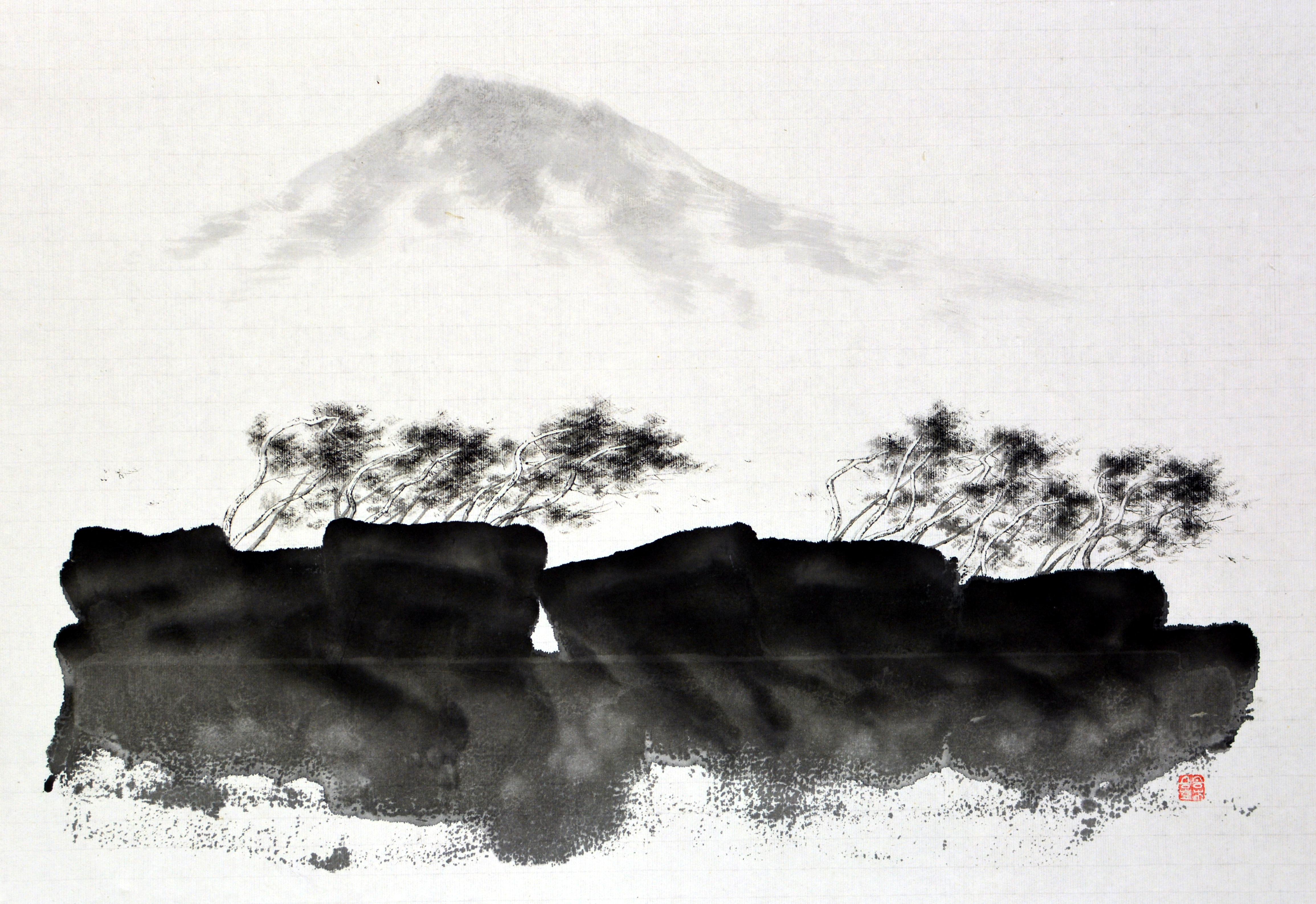 한라산이 보이는 풍경2, 65.2x45.2cm, 화선지에 수묵, 2016