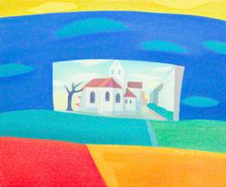 013, 차명주, 오베르마을 교회, 50.0 x 60.6 cm, oil on canvas, 2021, 300만원