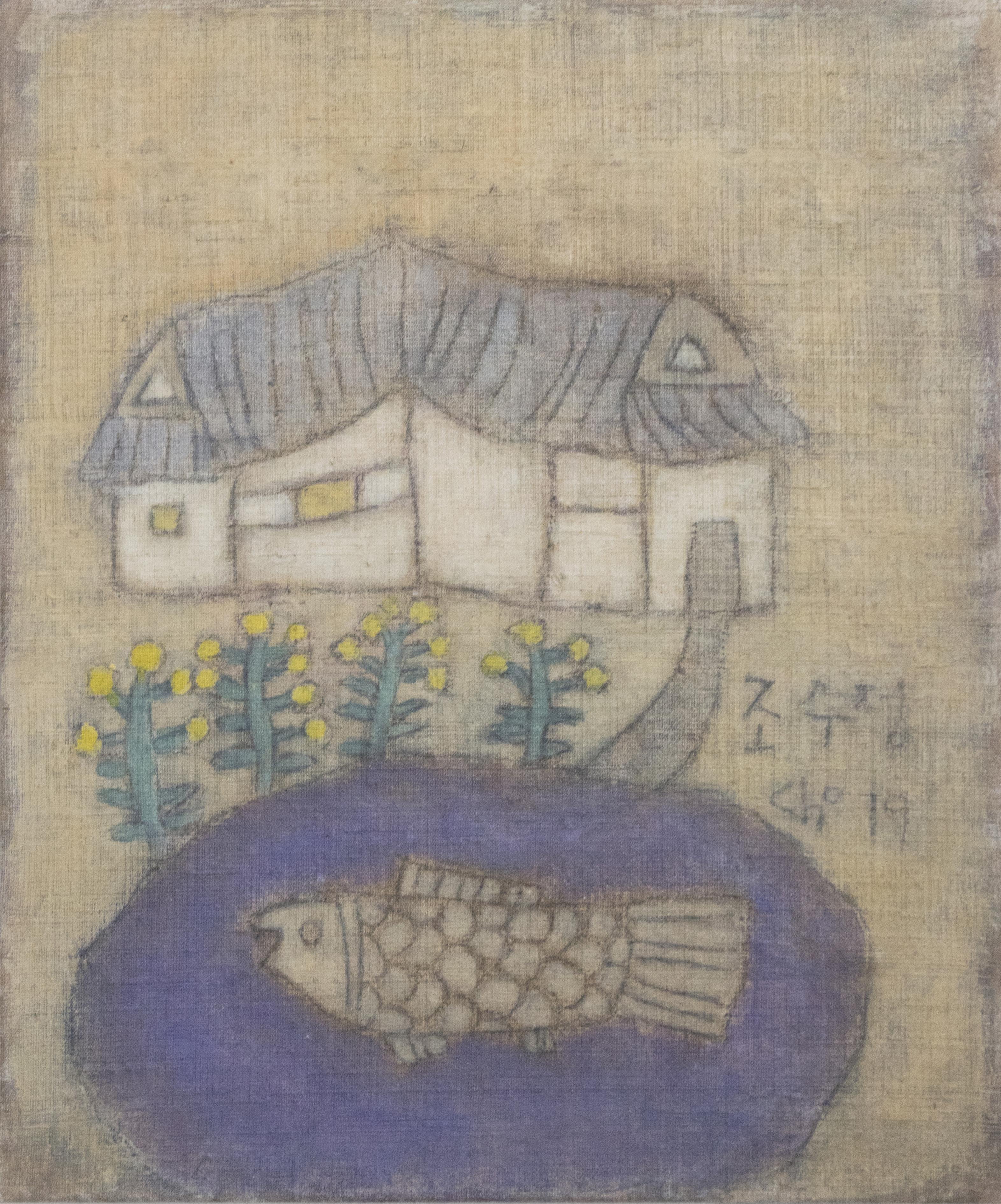 조수정, 009, 연못이 있는 집, 50.5 x 61