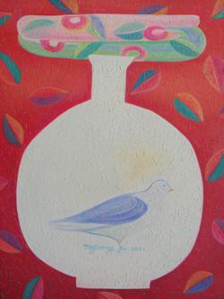 차명주3, 항아리와 새, 45.5 x 37