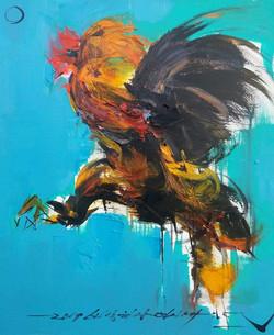 연상록, 쌈닭,비상하다, 60x72.5cm, Oil on canvas, 2016