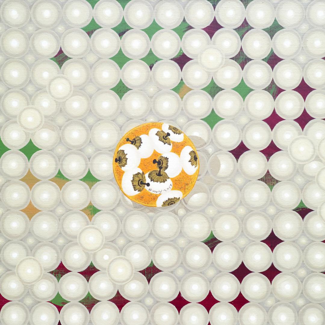 009, 진주위의 분첩 53x45.5cm Acrylic on canvas