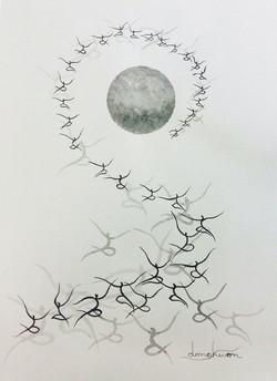신동권, 일출_신망애, 22x44cm, 종이 위에 목탄, 2017  (3)