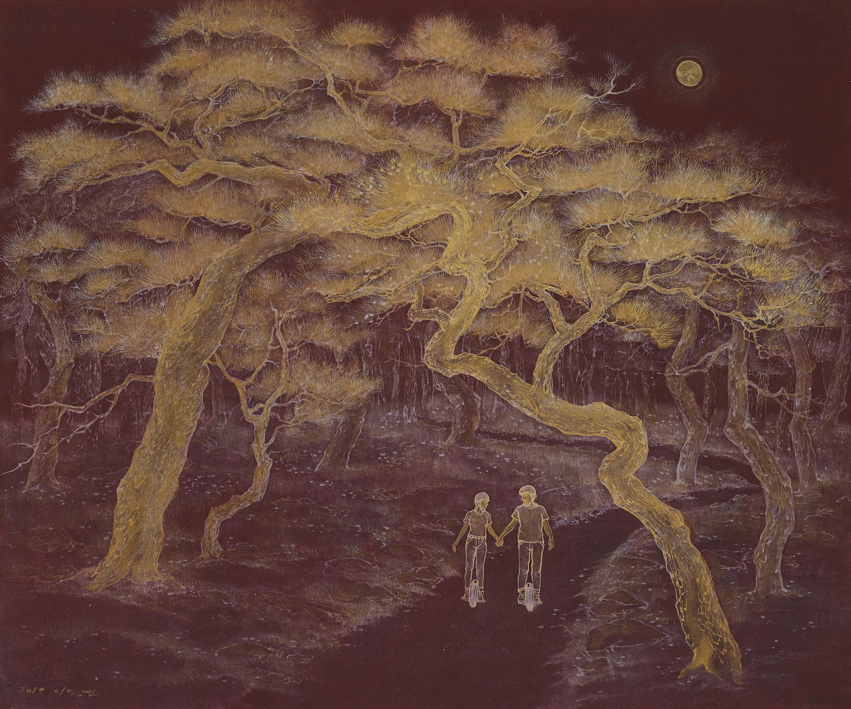 이동연_춘색만원(春色滿園).73x61cm,한지 채색,금분,은분