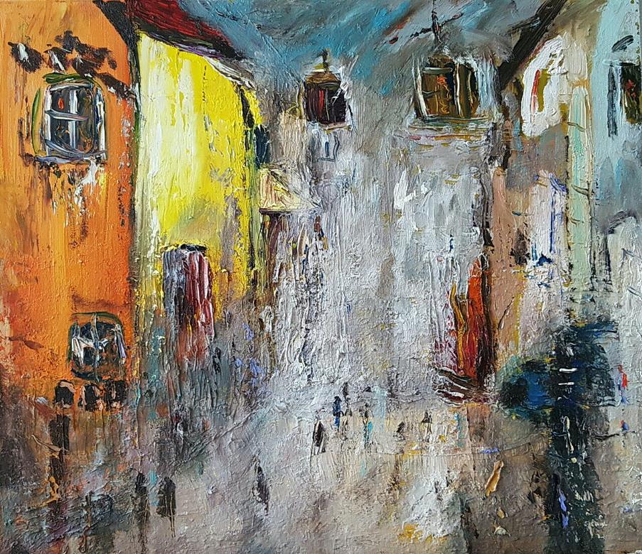 최수란, 비 내리는 체코의 골목길, 53 x 46 cm, oil on canvas, 2018