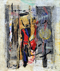 one's home town 1533 74x62cm 2015 korean paper mixed media