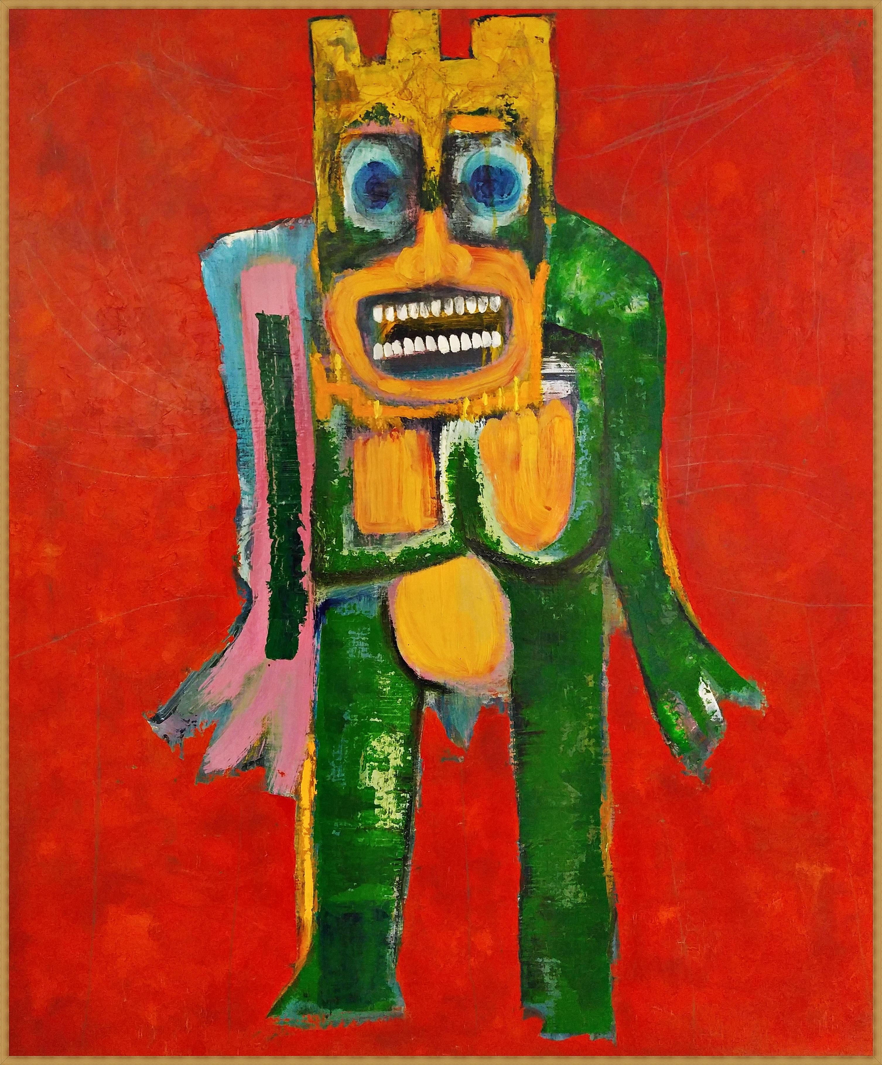 (최우 3) _ comedian.3_ 60.6x72.2cm_gold,oil,enamel on Linen canvas_2008(원목액자)